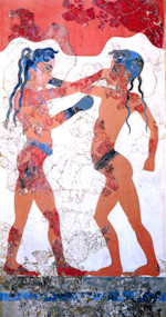 Minoan Boxing Boys Fresco Restoration, Akrotiri, Santorini, Greece