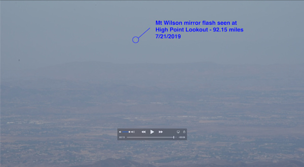 Mirror Flash of Redirected Sunlight of 92.15 Miles (148.3 Kms) between Mt Wilson & High Point Lookout, Varsity Scouting, Operation On Target, Septemeber 21, 2019, Southern California