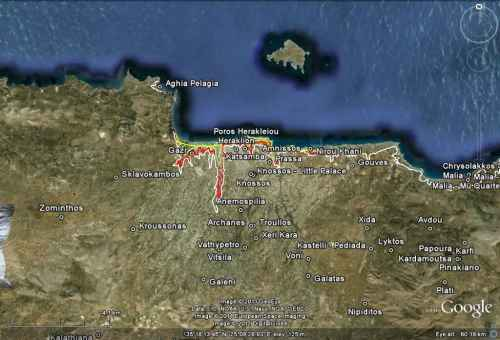 Minoan Crete Tsunami Inundation Map 3