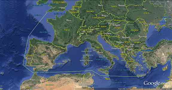 Rowing Distance from Kommos, Crete to Cornwall in Southwestern Britain, 4,730 kilometers (2,939 miles)