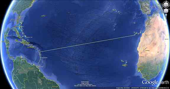 Rowing Distance from La Gomera, Canary Islands to Antigua in the Caribbean, 4,736 kilometers (2,943 miles)