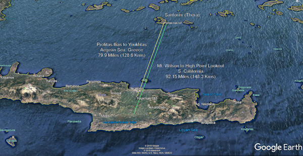 The Longest Link in my proposed Bronze Age Minoan Heliographic Network is 79.9 Miles (128.6 Kms) between Profitas Ilias Peak, Santorini (Thera) and the Peak Sanctuary Mt. Youkhtas, Crete, Southern Aegean Sea, Greece