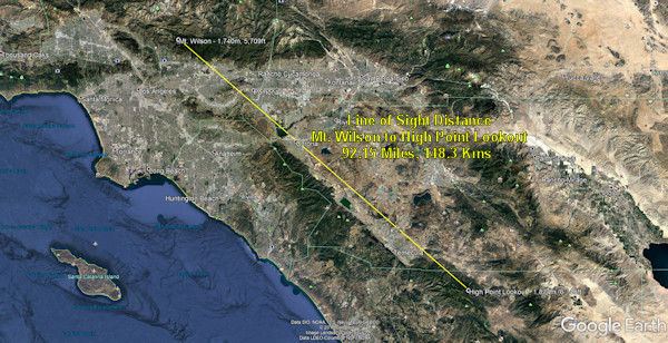 Line-of-Sight between Mt Wilson & High Point Lookout of 92.15 Miles (148.3 Kms), Varsity Scouting, Operation On Target, Septemeber 21, 2019, Southern California