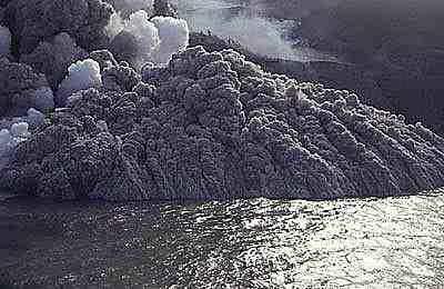 Volcanic Pyroclastic Surge flowing over the Sea, Montserrat, Lesser Antilles, Caribbean, 1996