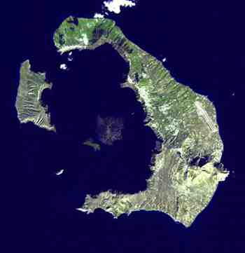Landsat Image of Modern Thera, Santorini, Greece, NASA