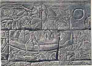 Sea Peoples Warship, Battle of the Delta, Medinet Habu, Mortuary Temple of Ramesses III, Luxor, Egypt, 1178 BC
